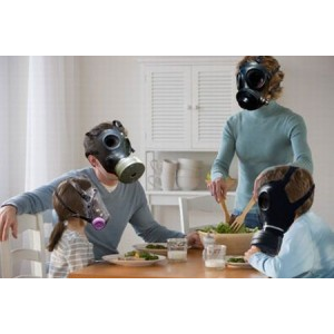 Family with gasmasks